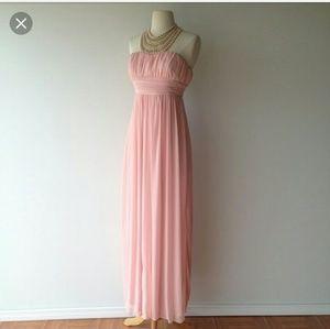 Pearl pink maxi prom dress